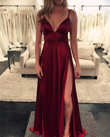 Image of Long Burgundy Formal Gowns