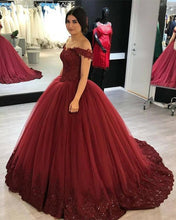 Load image into Gallery viewer, Burgundy Quinceanera Dresses 2020