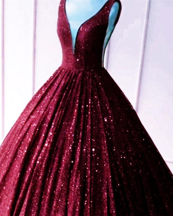 Burgundy Sequin Ball Gown Prom Dresses