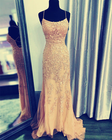 Image of Champagne Mermaid Prom Dresses 2020