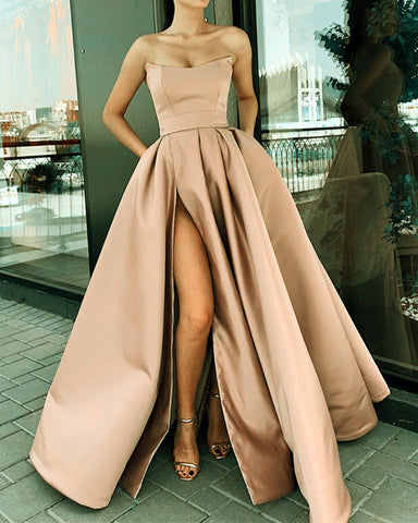 Image of Long Champagne Prom Dresses 2020