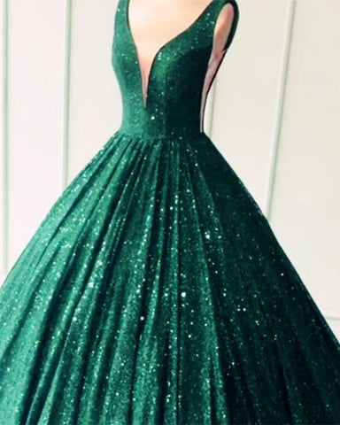 Image of Green Sequin Ball Gown quinceanera Dresses 2020