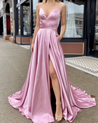 Image of Rose Pink Prom Dresses 2020