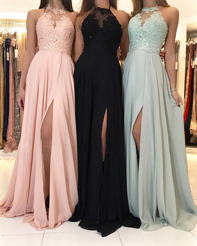 Image of Leg Slit Long Chiffon Halter Bridesmaid Dresses Lace Appliques