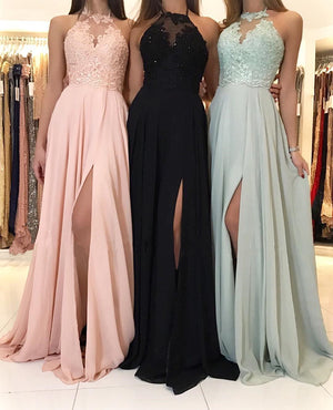 Leg Slit Long Chiffon Halter Bridesmaid Dresses Lace Appliques