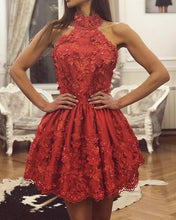 Afbeelding in Gallery-weergave laden, Red Lace Homecoming Dresses Halter