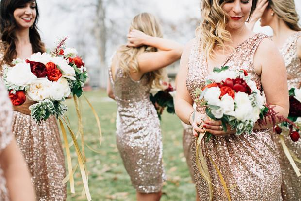 gold sequins v neck sheath bridesmaid dresses