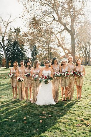 Image of gold sequins v neck sheath bridesmaid dresses