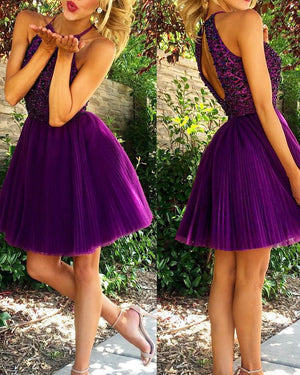 Grape A Line Tulle Homecoming Dresses 2019