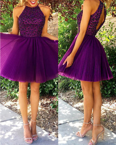 Short Grape Halter Homecoming Dresses