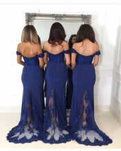 Load image into Gallery viewer, Navy-Bridesmaid-Dresses