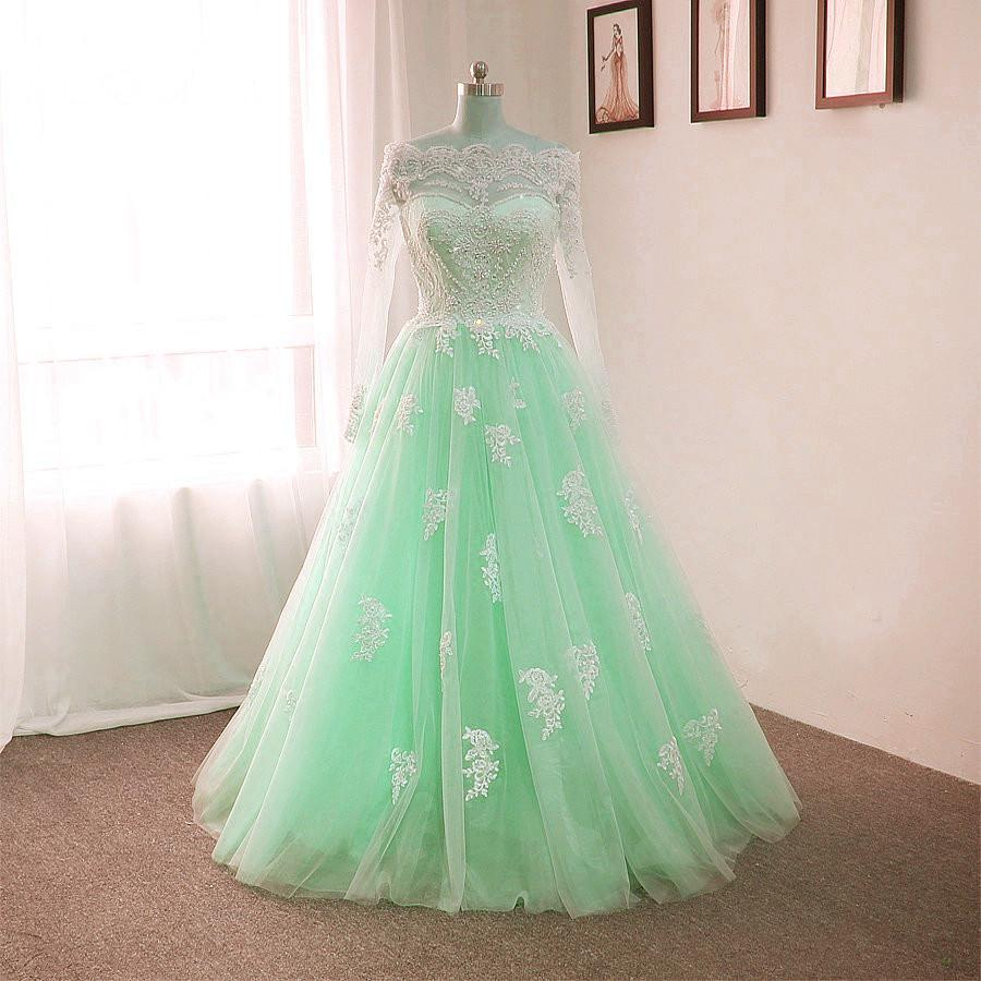 Off The Shoulder Tulle Floor Length Wedding Dresses Lace Appliques