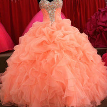 Load image into Gallery viewer, Crystal Beaded Sweetheart Organza Layered Ball Gowns Quinceanera Dresses