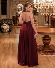 Load image into Gallery viewer, Long Backless Bridesmaid Dresses Burgundy