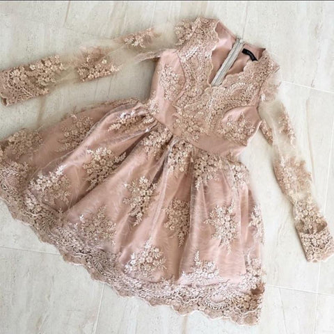 Image of Elegant V Neck Long Sleeves Homecoming Dresses Lace Short Cocktail Dress
