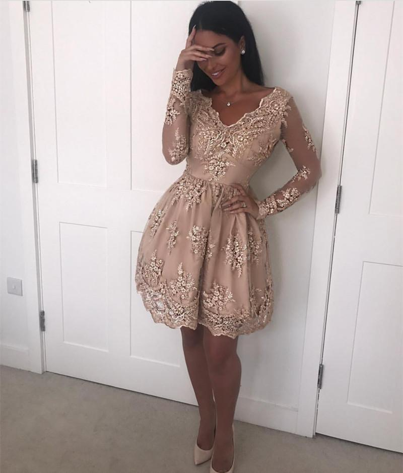 Elegant V Neck Long Sleeves Homecoming Dresses Lace Short Cocktail Dress
