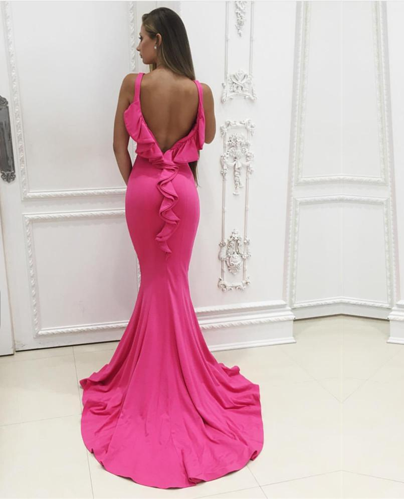 Pink Jersey Ruffle Back Mermaid Prom Dresses 2018 Formal Evening Gowns
