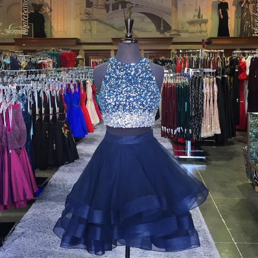 Two Piece Ruffles Ball Gown Homecoming Dresses With Ombre Sequins And Beaded