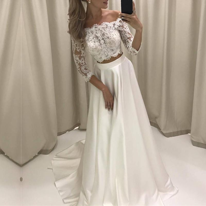 Boho Style Lace Sleeved Two Piece Wedding Dresses Beach Bridal Gowns