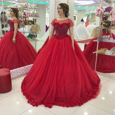 Image of Modest Cap Sleeves Tulle Flower Ball Gown Quinceanera Dresses
