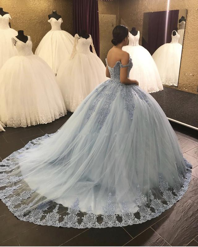 Lace Embroidery Tulle Ball Gowns Wedding Off Shoulder Dresses