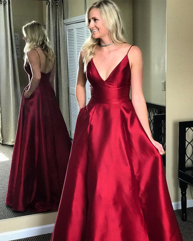 Image of Simple A-line Long Satin Prom Dresses V-neck Floor Length Evening Gowns
