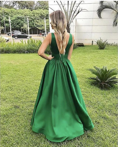 Image of Simple Satin V-neck Empire Prom Dresses Floor Length