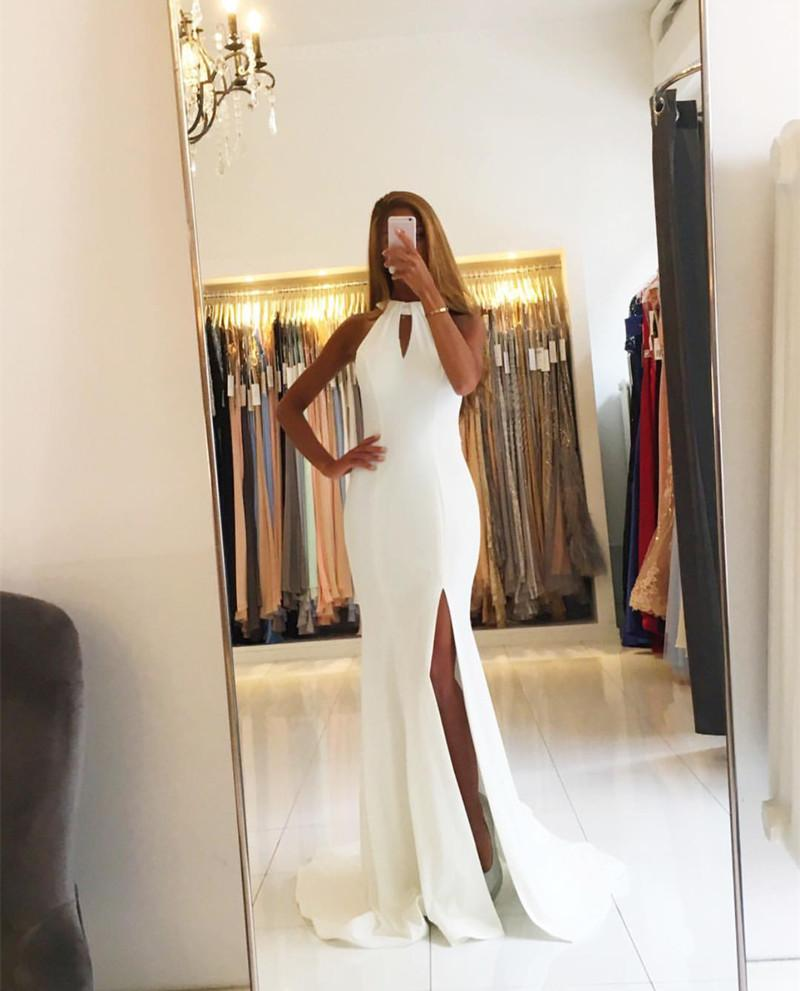 Ivory Satin Halter Mermaid Backless Evening Gowns Open Back Prom Dress