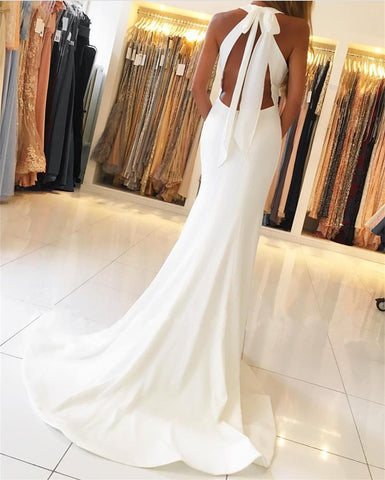 Image of Ivory Satin Halter Mermaid Backless Evening Gowns Open Back Prom Dress
