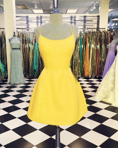 Image of Yellow-Homecoming-Dresses-Short-Open-Back-Prom-Dress