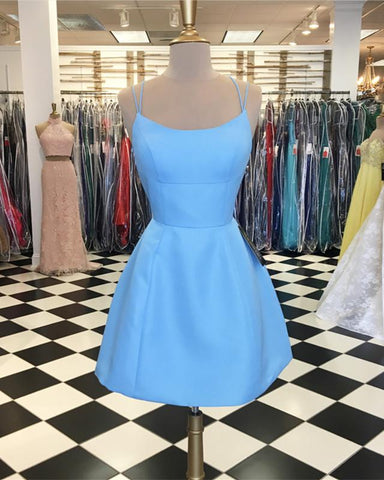 Image of Baby-Blue-Homecoming-Dresses-Short-Cross-Back-Cocktail-Dress