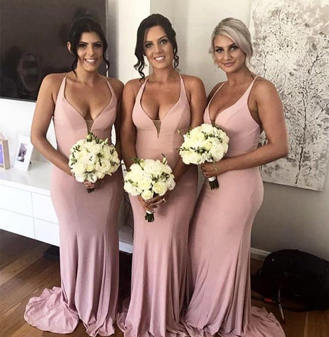 Image of Long Jersey Halter Mermaid Backless Bridesmaid Dresses