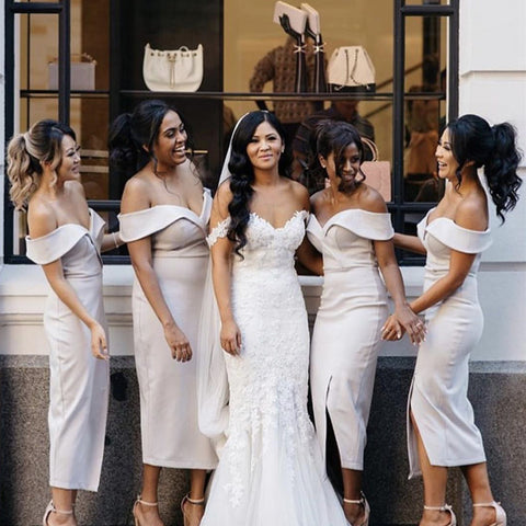 Image of nude-pink-bridesmaid-dresses-sheath-party-dress