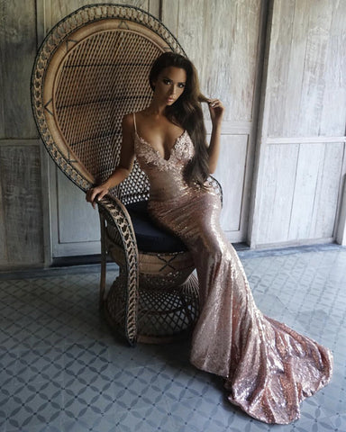 Image of Long-Rose-Gold-Prom-Dresses-Mermaid-Sequins-Evening-gowns