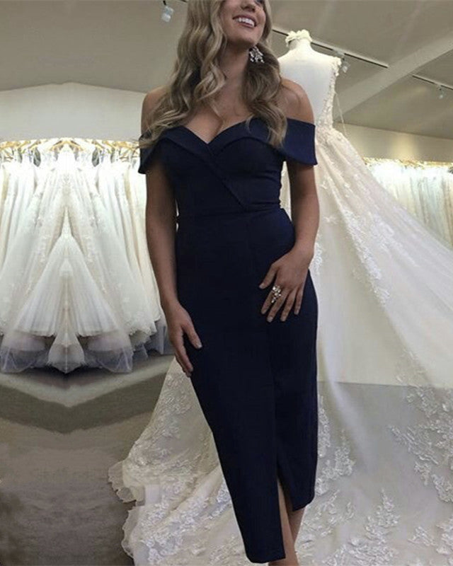 Navy-Blue-Bridesmaid-Dresses-Tea-Length-Party-Dress