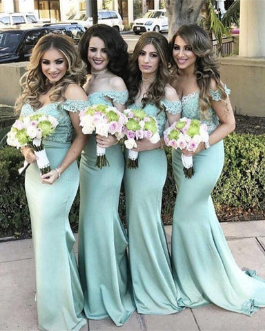 Image of Elegant Lace V-neck Off The Shoulder Bridesmaid Dresses Mermaid