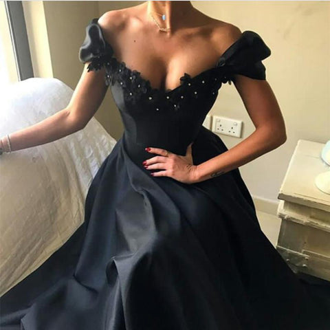Image of Lace Beaded V Neck Long Black Prom Dresses 2018 Formal Evening Gowns