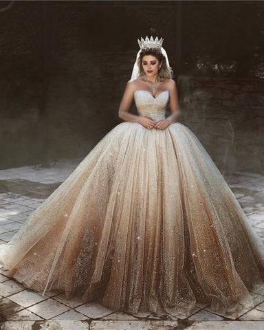 Image of Luxurious-Wedding-Ball-Gown-Sweetheart-Dresses-For-Bride