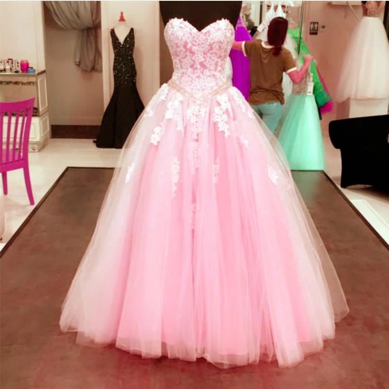 Ivory Lace Sweetheart Drop Waistline Tulle Quinceanera Dresses Ball Gowns