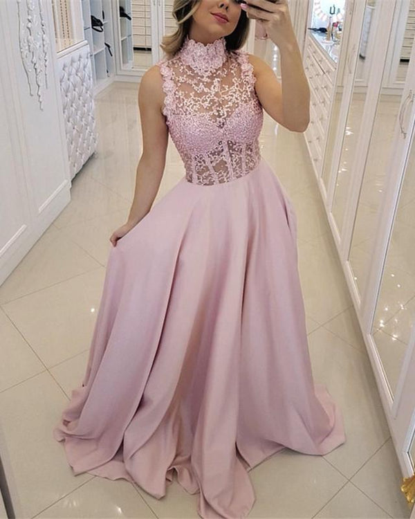 High-Neck-Prom-Dresses-Floor-Length-Evening-Gowns-2019