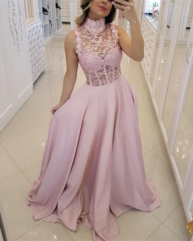 Image of High-Neck-Prom-Dresses-Floor-Length-Evening-Gowns-2019