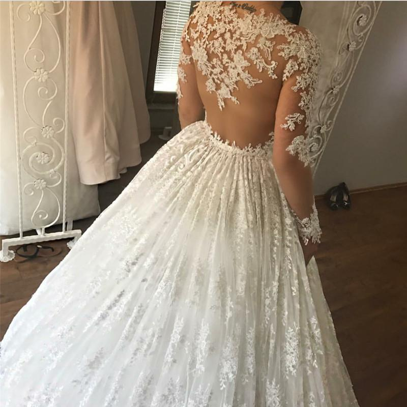 Ivory Lace Appliques Long Sleeves Ball Gowns Wedding Dresses