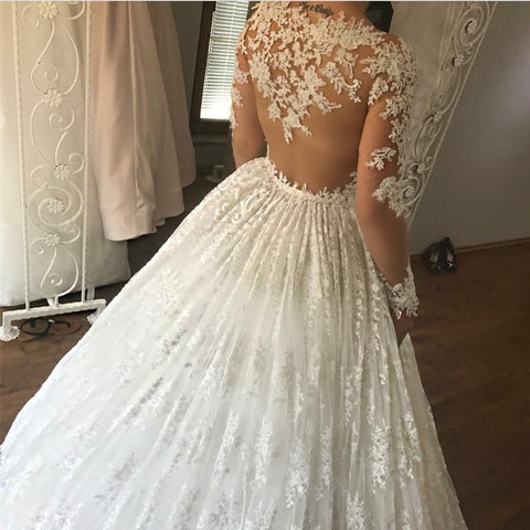 Image of Ivory Lace Appliques Long Sleeves Ball Gowns Wedding Dresses