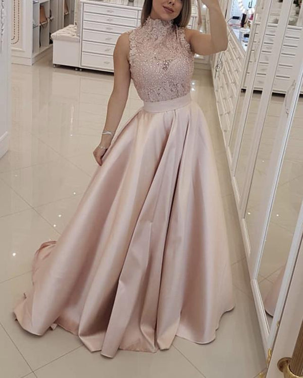 Elegant Lace High Neck Long Satin Prom Dresses