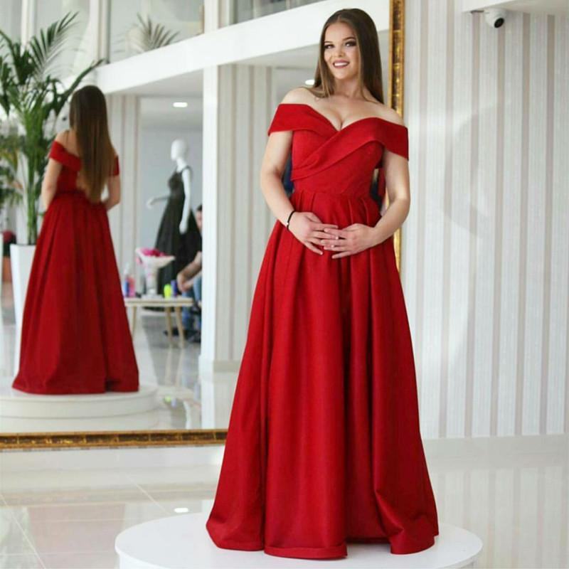 Red Satin Long V Neck Prom Dresses Ball Gowns 2018