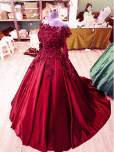 Load image into Gallery viewer, 3D Lace Flower Long Sleeves Satin Ballgowns Prom Dresses Off The Shoulder