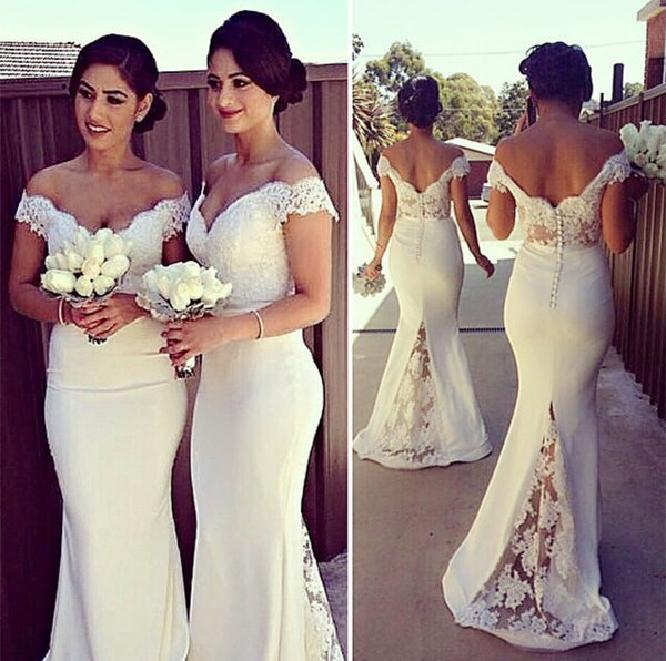 Pretty Lace V-neck Mermaid Bridesmaid Dresses Court Train Formal Gowns