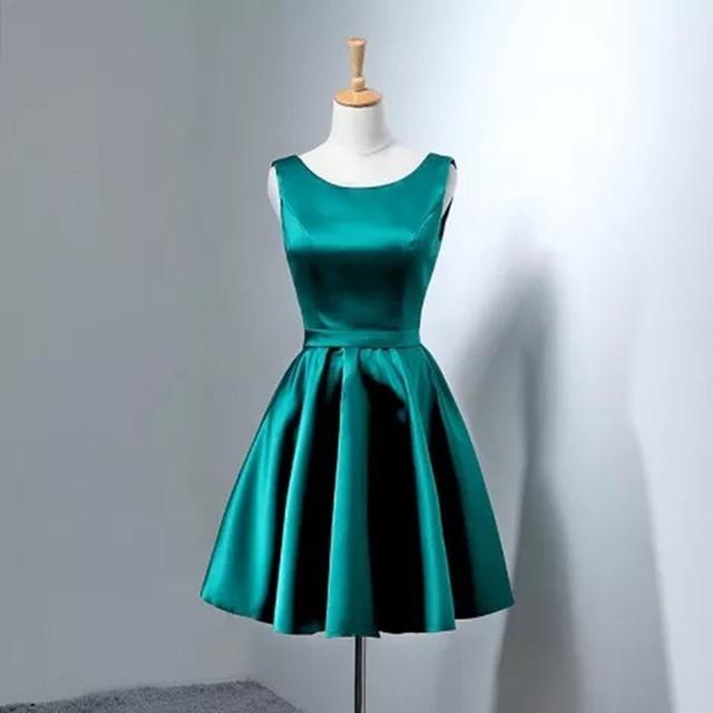 Hunter Green Satin Homecoming Dresses Short Bow Back Prom Gowns
