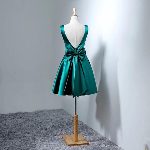 Image of Hunter Green Satin Homecoming Dresses Short Bow Back Prom Gowns