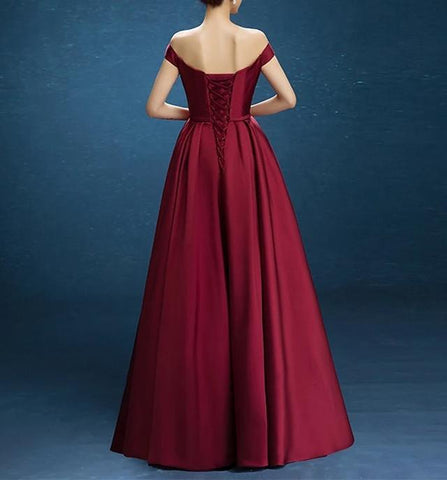 Image of V Neck Off The Shoulder Floor Length Satin Bridesmaid Dresses